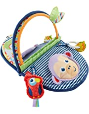 Fisher-Price Monkey Mirror, New-born Tummy Time and Sit Sensory Toy with Textures and Colours, Suitable from Birth