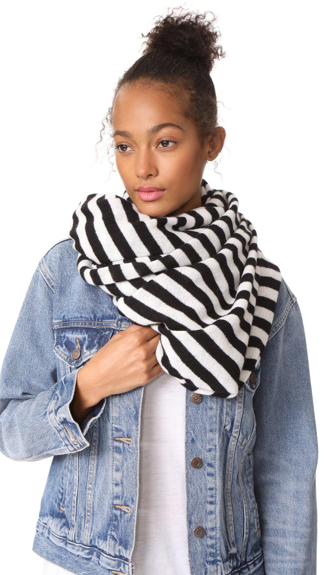 White + Warren Women's Cashmere Stripe Travel Wrap Scarf, Black/White, One Size