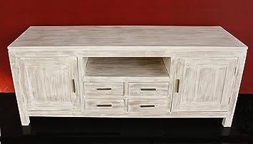 Porte In Legno Massello Prezzi : Mobile porta tv shabby chic in vero legno teak massello realizzato