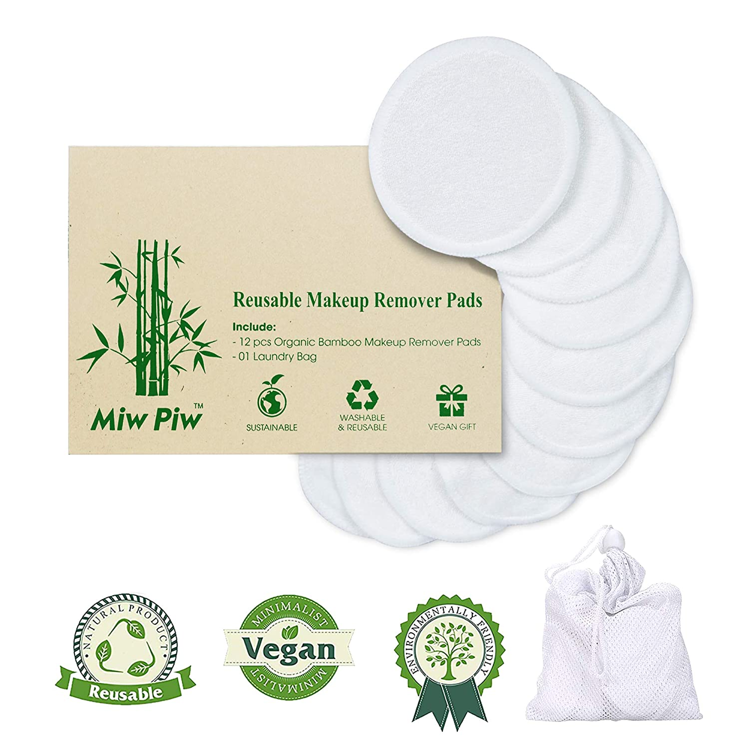 Miw Piw Reusable Cotton Pads Face Pack 13 Washable Makeup Remover Laundry Bag Skincare Cleaning Bamboo Cloth Rounds Facial Wipes Eye Lip : Beauty