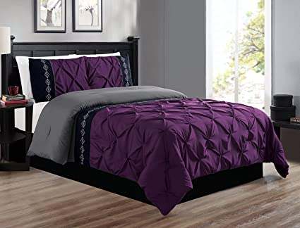Amazon.com: Grand Linen 3 Piece Queen Size Dark Purple/Grey / Black ...