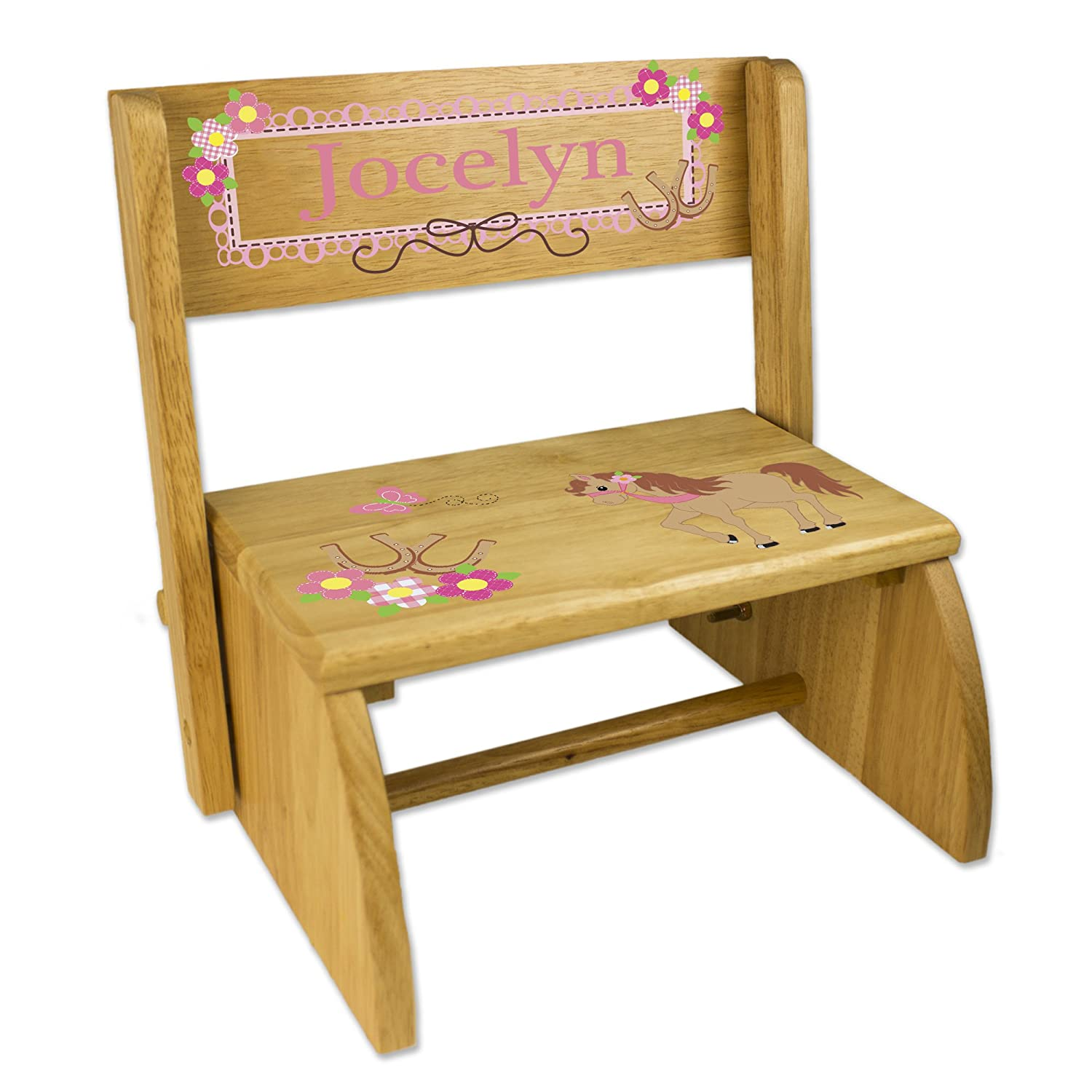 Personalized Pony Folding Step Stool MyBambino STOO-NAT-305-PT