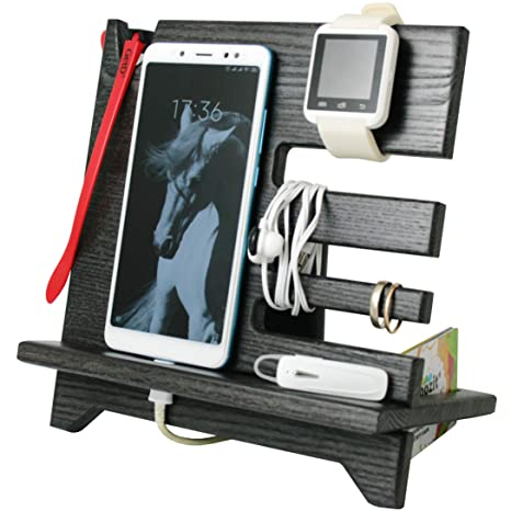 Amazon.com: Cell Phone Stand Watch Holder. Men Wireless Device Dock Organizer Wood Mobile Base Nightstand Charging Docking Station.