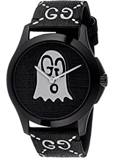 dee0501f943 Amazon.com  Gucci Ghost G-Timeless Black Motif Dial Mens Rubber ...