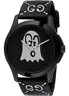 cdb60f88dcf Amazon.com  Gucci Ghost G-Timeless Black Motif Dial Mens Rubber ...
