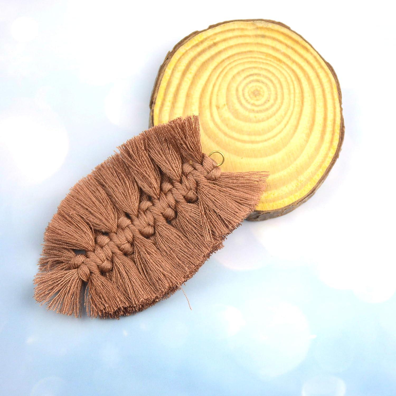 Mixed Makhry 6 pcs Bohemian Fan-shaped Tassel Woven Earrings Pendant Handmade DIY Retro Earrings Jewelry Accessories