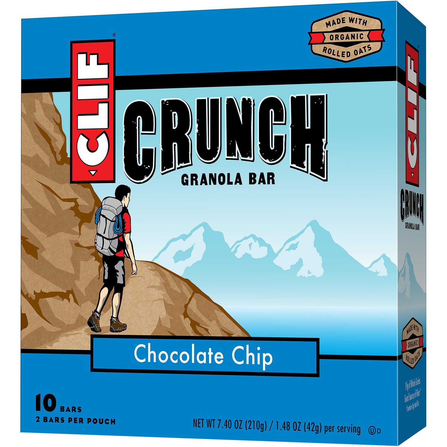 CLIF CRUNCH - Granola Bar - Chocolate Chip - (1.48 Ounce, 5 Two-Bar Snack Pouches)