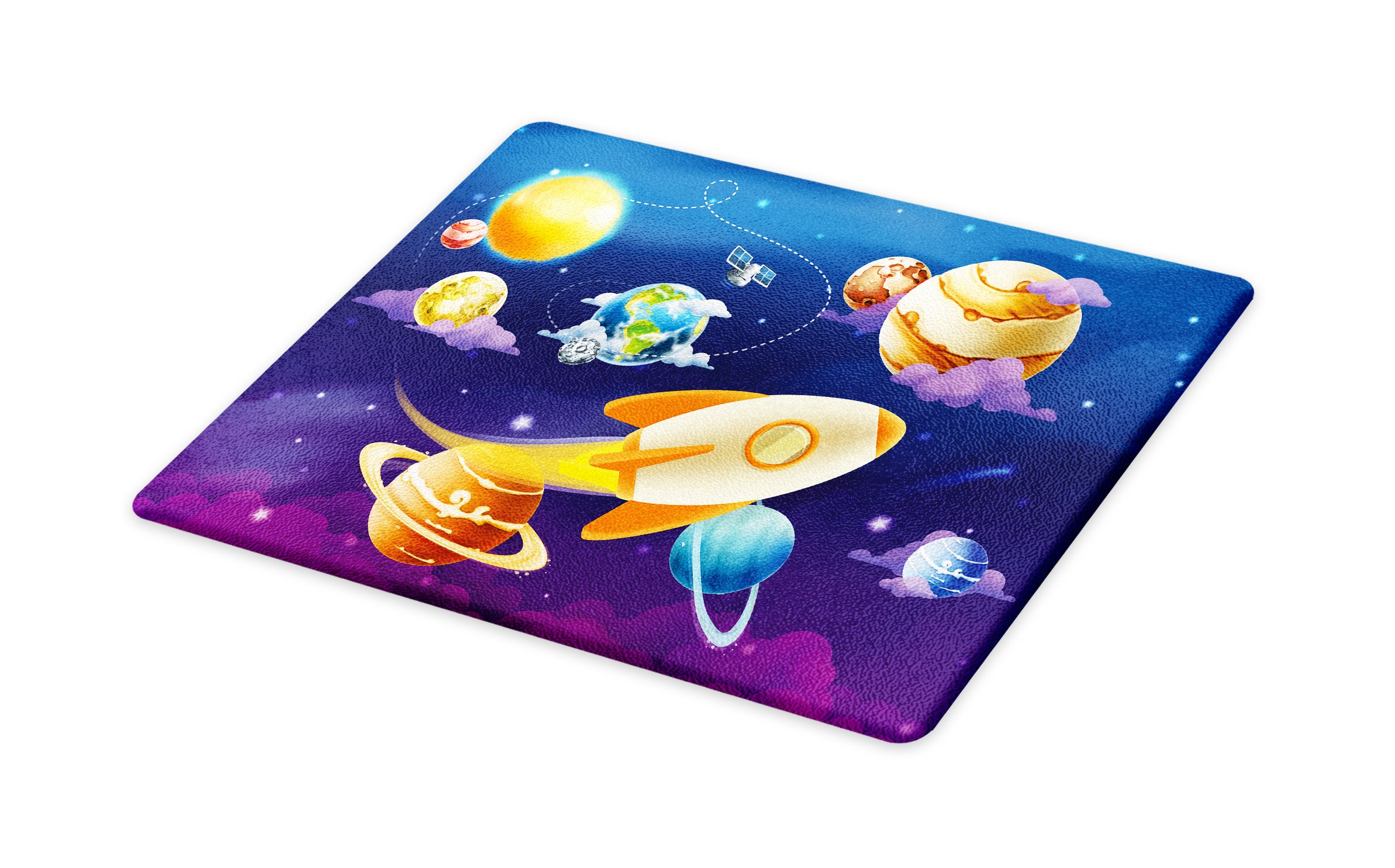 Lunarable Boy's Room Cutting Board, Solar System of Planets with a Cute Spaceship Milky Way Galaxy Earth Jupiter Sun, Decorative Tempered Glass Cutting and Serving Board, Small Size, Multicolor