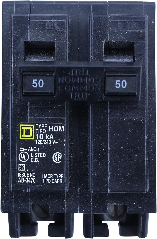 Square D Homeline HOM250 Miniature Circuit Breaker, 120/240 VAC, 50 A, 10 kA, 2 Poles, Thermal Magnetic Trip - -