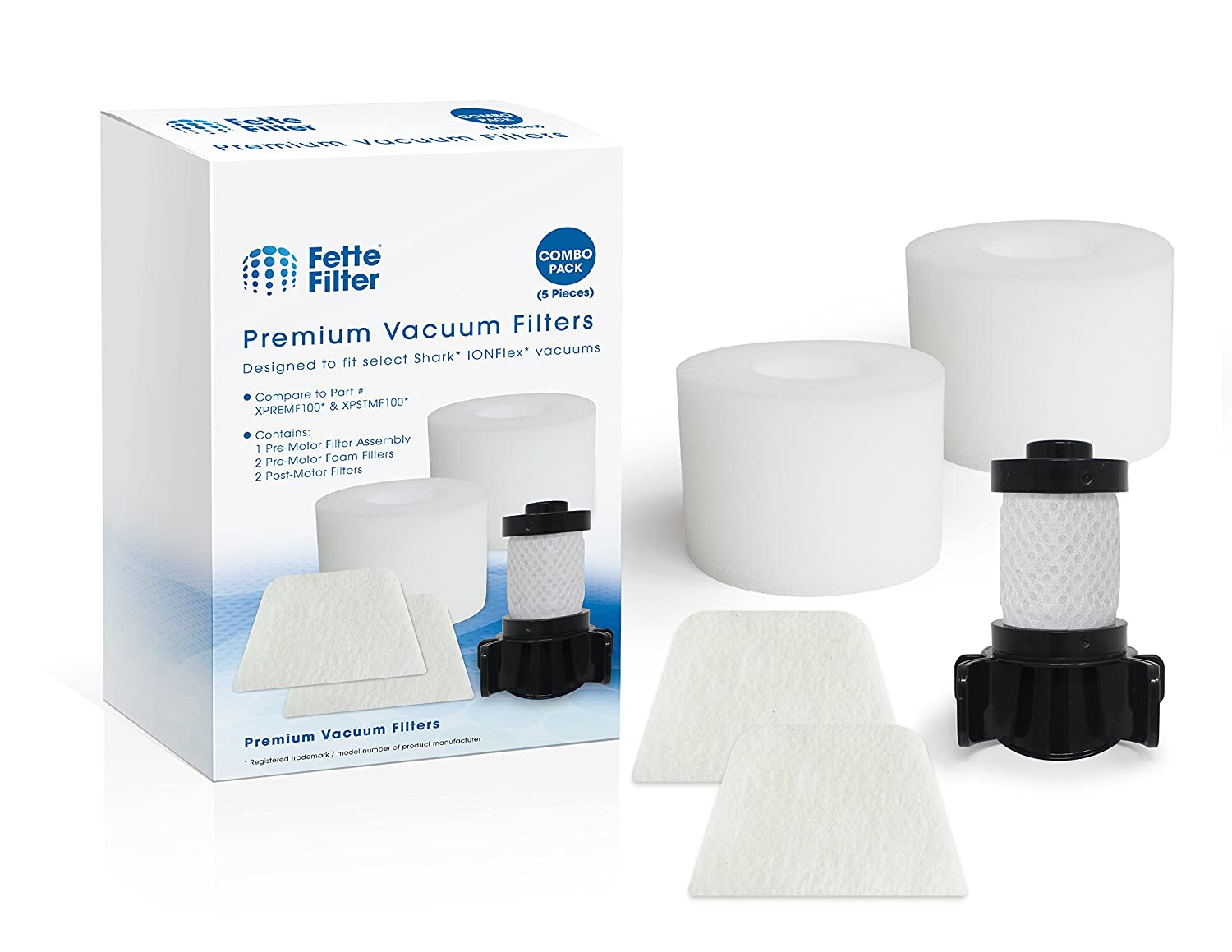 Fette Filter - Vacuum Filters Compatible with Shark IONFlex DuoClean IC205, IC205CCO, IF200, F200W, IF201, IF202, IF203Q, IF205, IF251, IF252, IR100, IR101,IR70, F80.Compare Part # XPREMF100 XPSTMF100