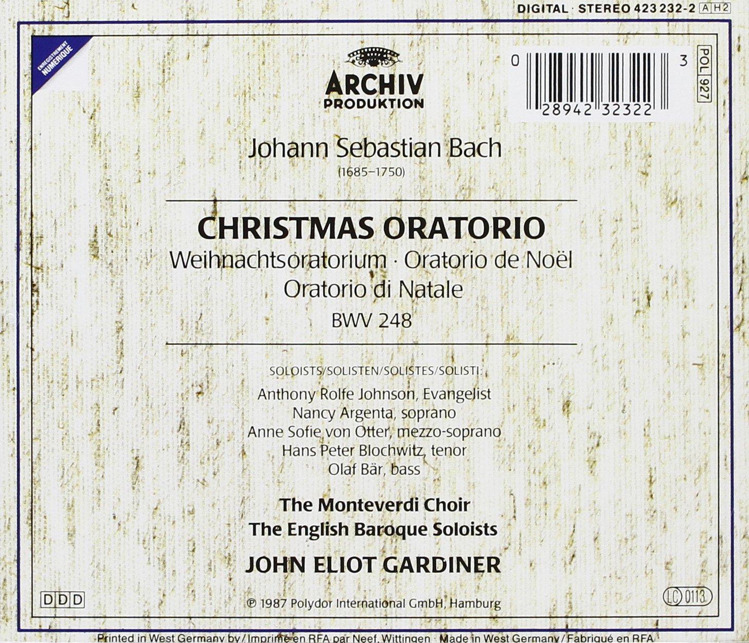 Bach: Christmas Oratorio (Weihnachts Oratorium) by Archiv
