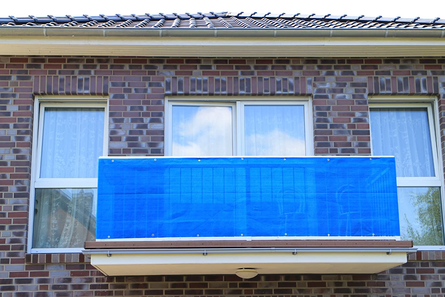 Blue smart decorative balcony privacy screen, wind protection, privacy and UV protection for balcony, garden, camping and leisure., Plastic, blue, 200x90cm Smart Deko