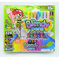 Asera Blendy Pens 16 Colors - 120 Color Combinations & 6 Color Reveal Posters - Watercolor Pens Washable Ink