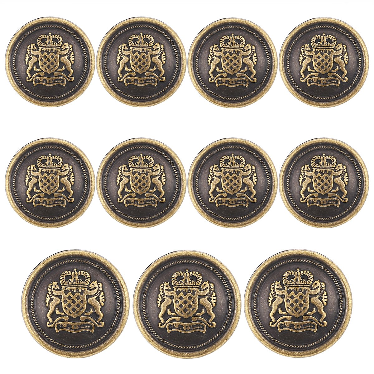 11 Piece Antiqued Bronze Metal Blazer Button Set - Crown Lion- For Blazer, Suits, Sport Coat, Uniform, Jacket Shuang Dong 4337004458