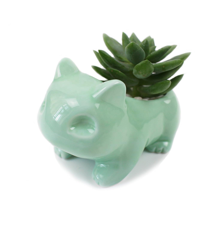 Green Ceramic Flowerpot Glazed Pottery Succulent Pot Cute Planter Flower Pot with Hole