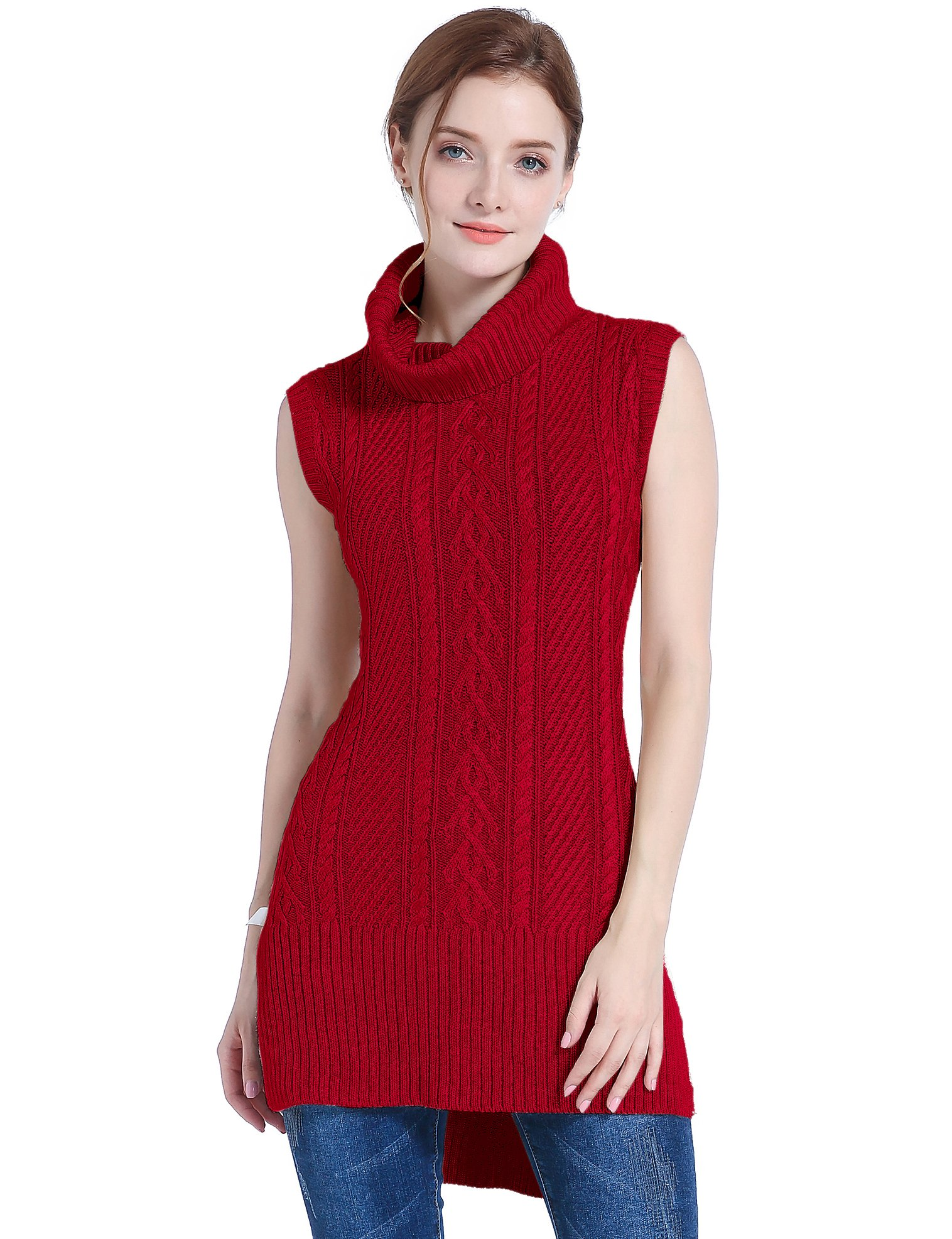 38476f59315a Galleon - V28 Women s Cowl Neck Cable Knit Stretchable Sleeveless Tops Pullover  Sweater (US Size 0-4