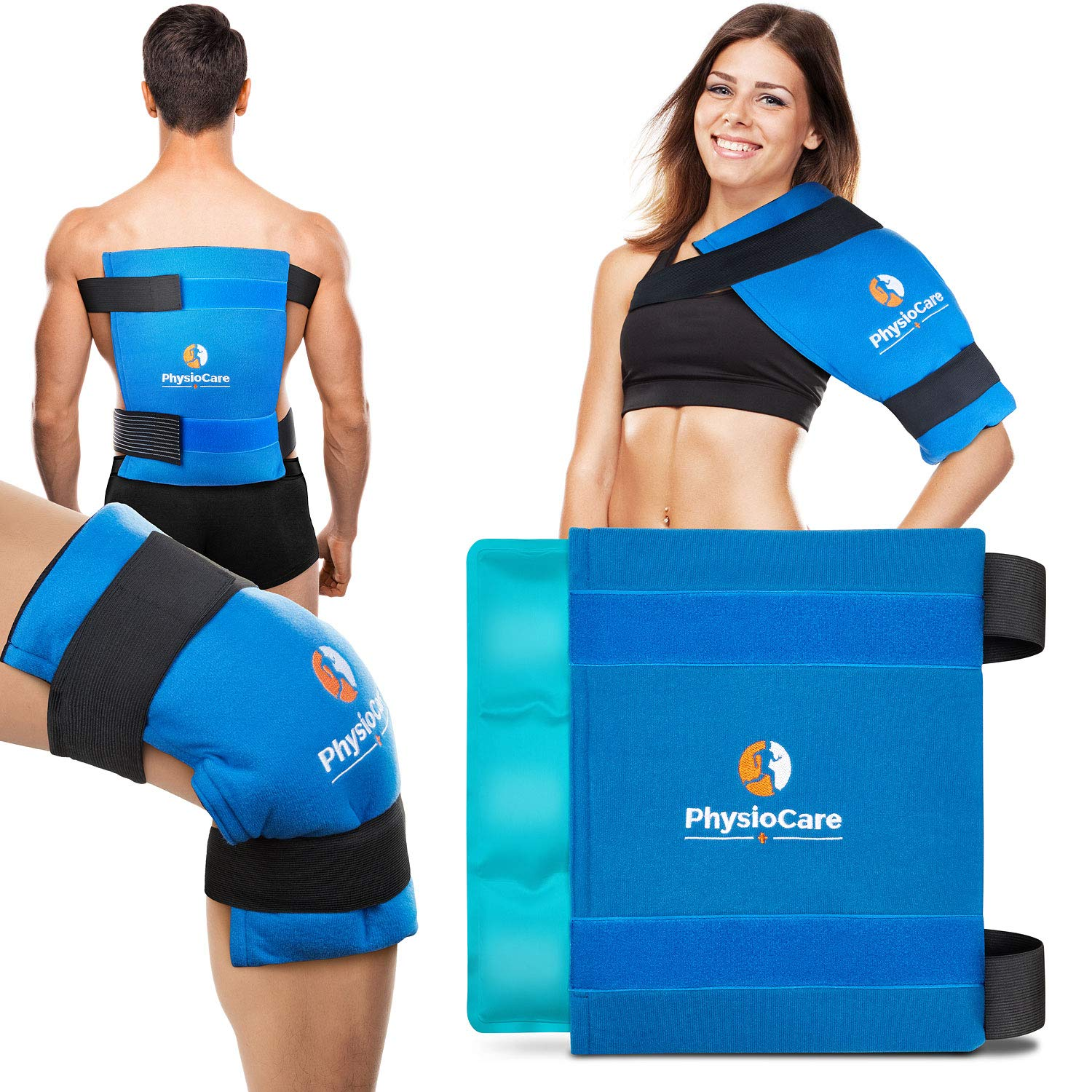 PhysioCare Large Flexible Gel Ice Pack & Wrap - Hot & Cold Therapy for Hip, Shoulder, Elbow, Back, Knee - Instant Pain Relief for Injuries, Recovery, Swelling, Aches, Bruises & Sprains - XL 11'' x 14''