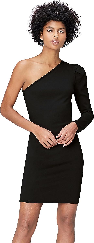 TALLA 36 (Talla del fabricante: X-Small). Marca Amazon - find. Vestido con Hombro Descubierto para Mujer Negro (Schwarz) 36 (Talla del fabricante: X-Small)
