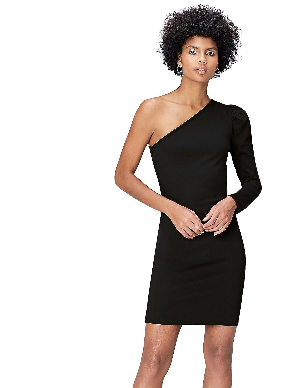 TALLA 46 (Talla del fabricante: XX-Large). Marca Amazon - find. Vestido con Hombro Descubierto para Mujer Negro (Schwarz) 46 (Talla del fabricante: XX-Large)
