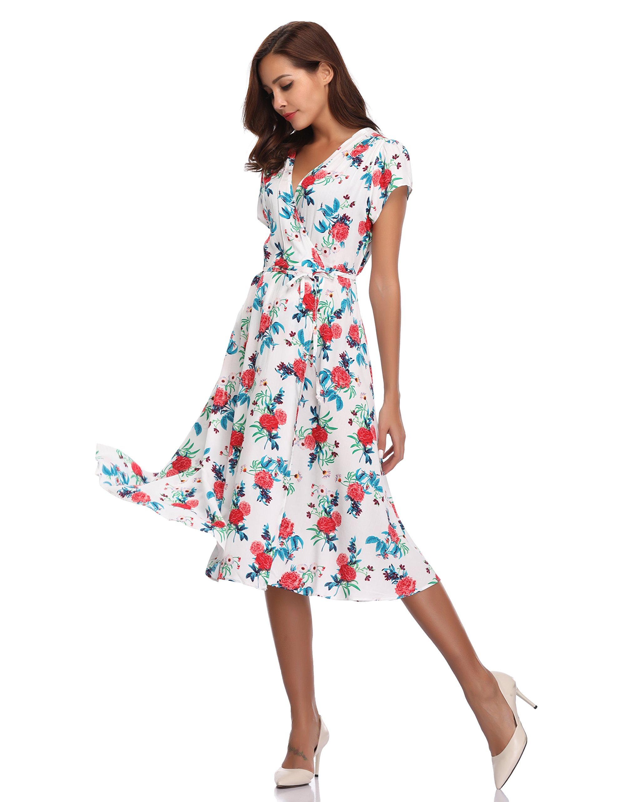 Floating Time Women's Floral Print Short Sleeve Midi Wrap Dress(S, CF42583-3) by Floating Time (Image #2)