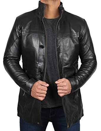 d3db96480c40 Bristol Men Black Leather Coat - Genuine Lambskin Black Leather Jacket for  Men | XS