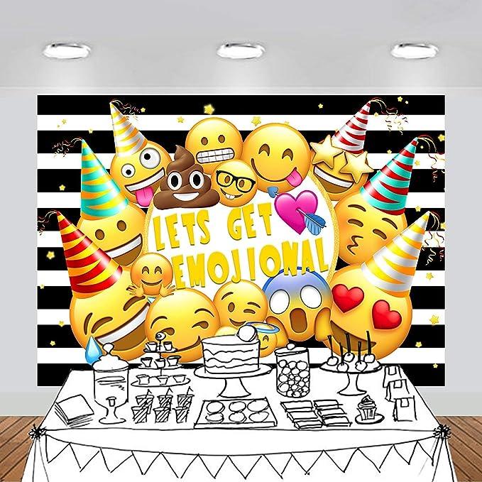 Amazon.com: musykrafties Emoji divertido fiesta telón de ...