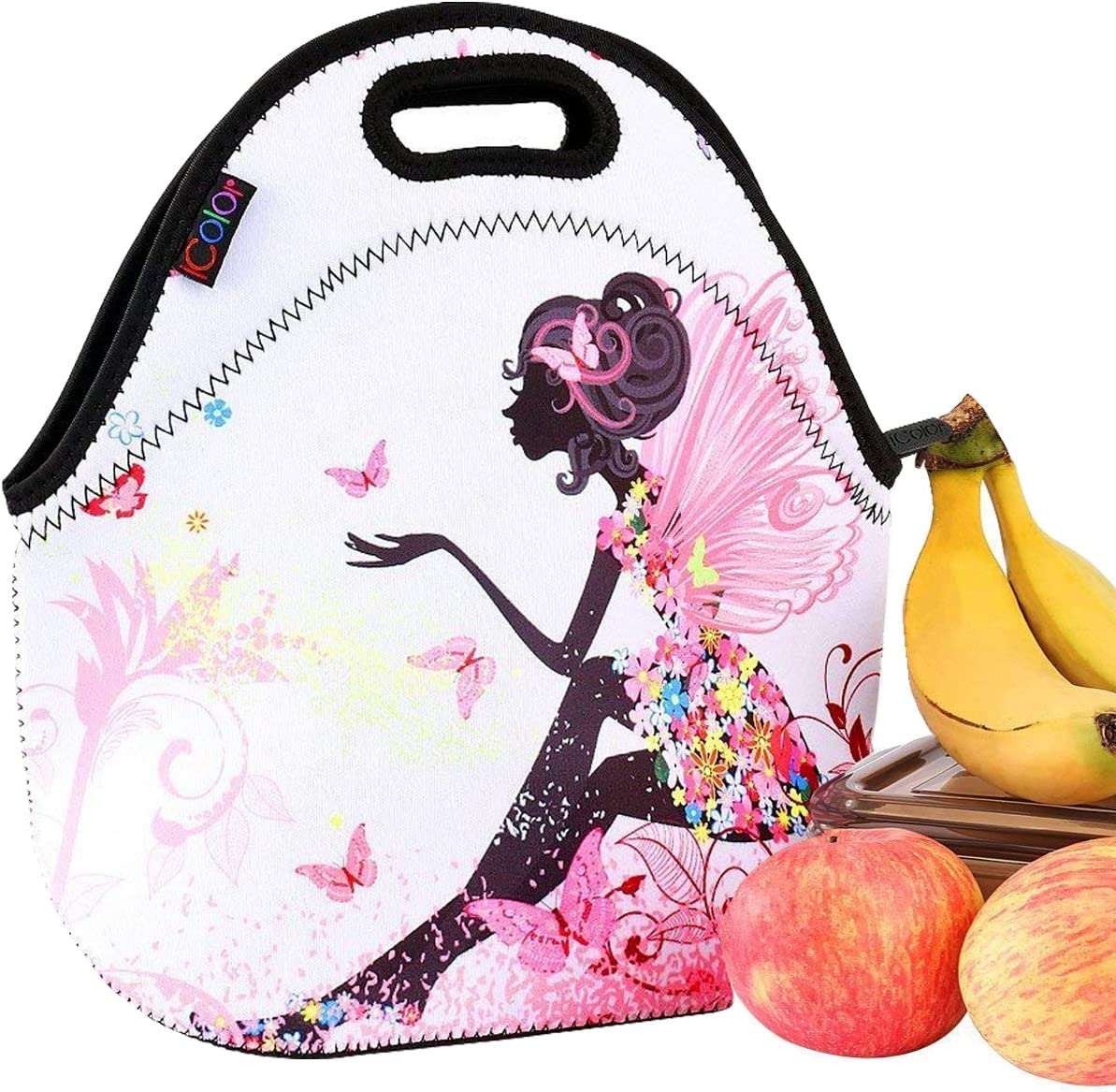 iColor Girls Fashionable Kids Neoprene Sleeve Insulated Portable Waterproof Comfortable Tote Soft cover baby Handbag Lunch Box W/Handle School College Food Carry Case Protector NEW YLB-016