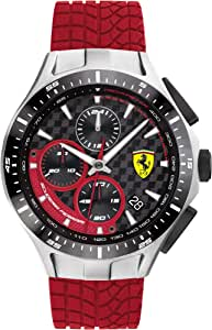 Ferrari Men's Race Day Stainless Steel Quartz Watch with Silicone Strap, Red, 22 (Model: 0830697)