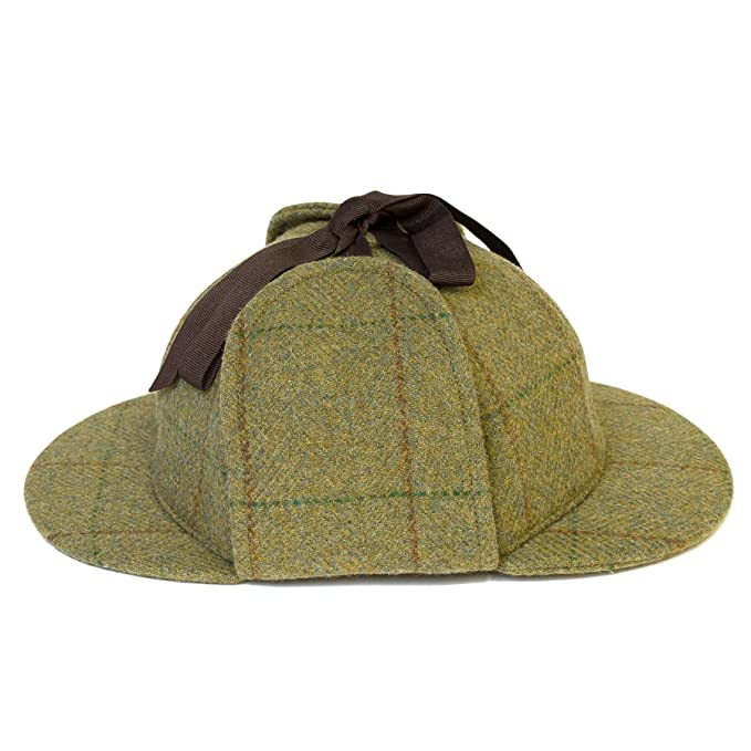 Deerstalker Sherlock Holmes Hat Hartwist Overcheck - Olive Green (59 ... a7d5c986bfc