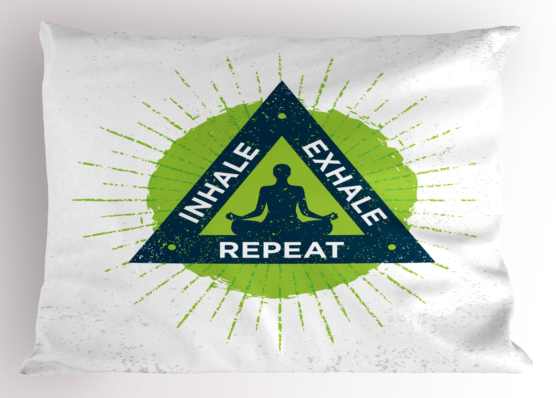 Ambesonne Inhale Exhale Pillow Sham, Spa Yoga Retreat Theme Meditating Woman Ancient Practice Philosophy, Decorative Standard King Size Printed Pillowcase, 36 X 20 inches, Lime Green Dark Blue