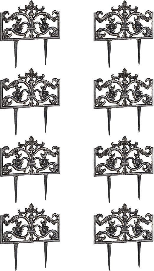 Relaxdays Pack de 8 Rejas Jardín Decorativas, Hierro Fundido, Negro Desgastado, 37 x 36 x 2 cm: Amazon.es: Jardín