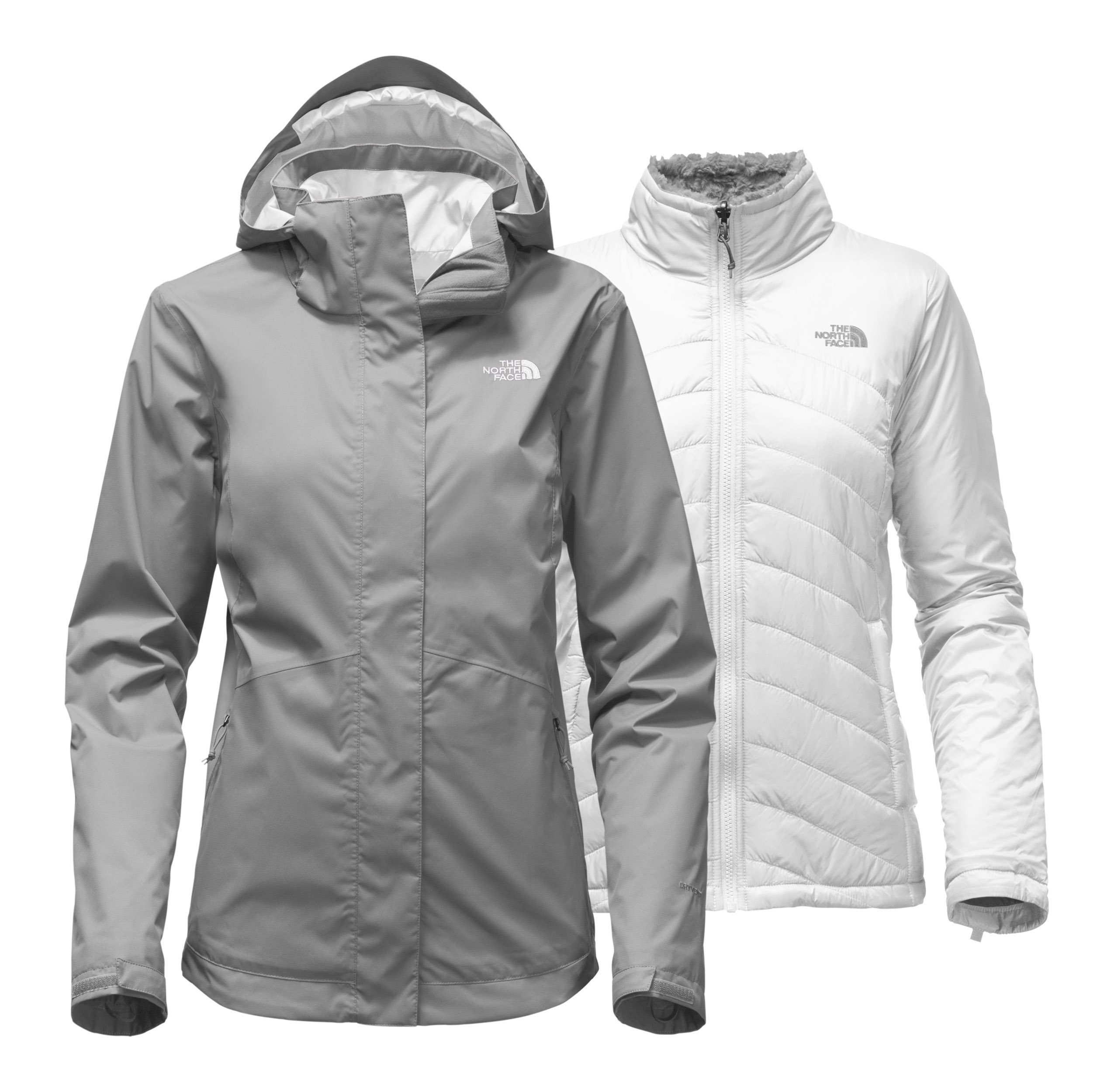 The North Face Women's Mossbud Swirl Triclimate Jacket - Mid Grey/TNF White - L (Past Season) by The North Face