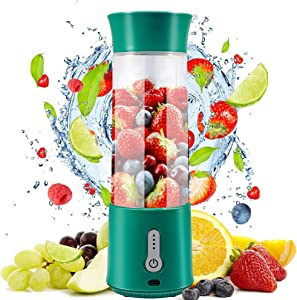 Portable Blender, 16.9 Oz Personal Size Blender, 4000mAh USB Rechargeable Juicer Cup with Six 3D Blades, Great for Smoothies, Fruit Juice, Mike Shakes, BPA-Free (Green)