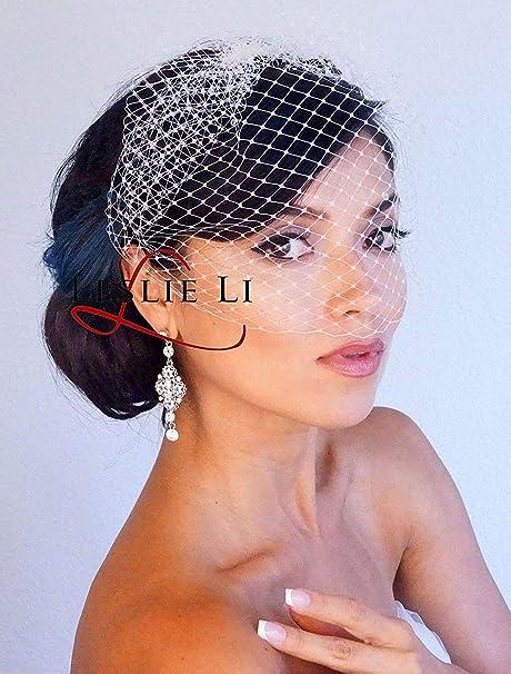 556c69367e95d Leslie Li Women s Bridal Birdcage Veil One Size Ivory LV23 at Amazon ...