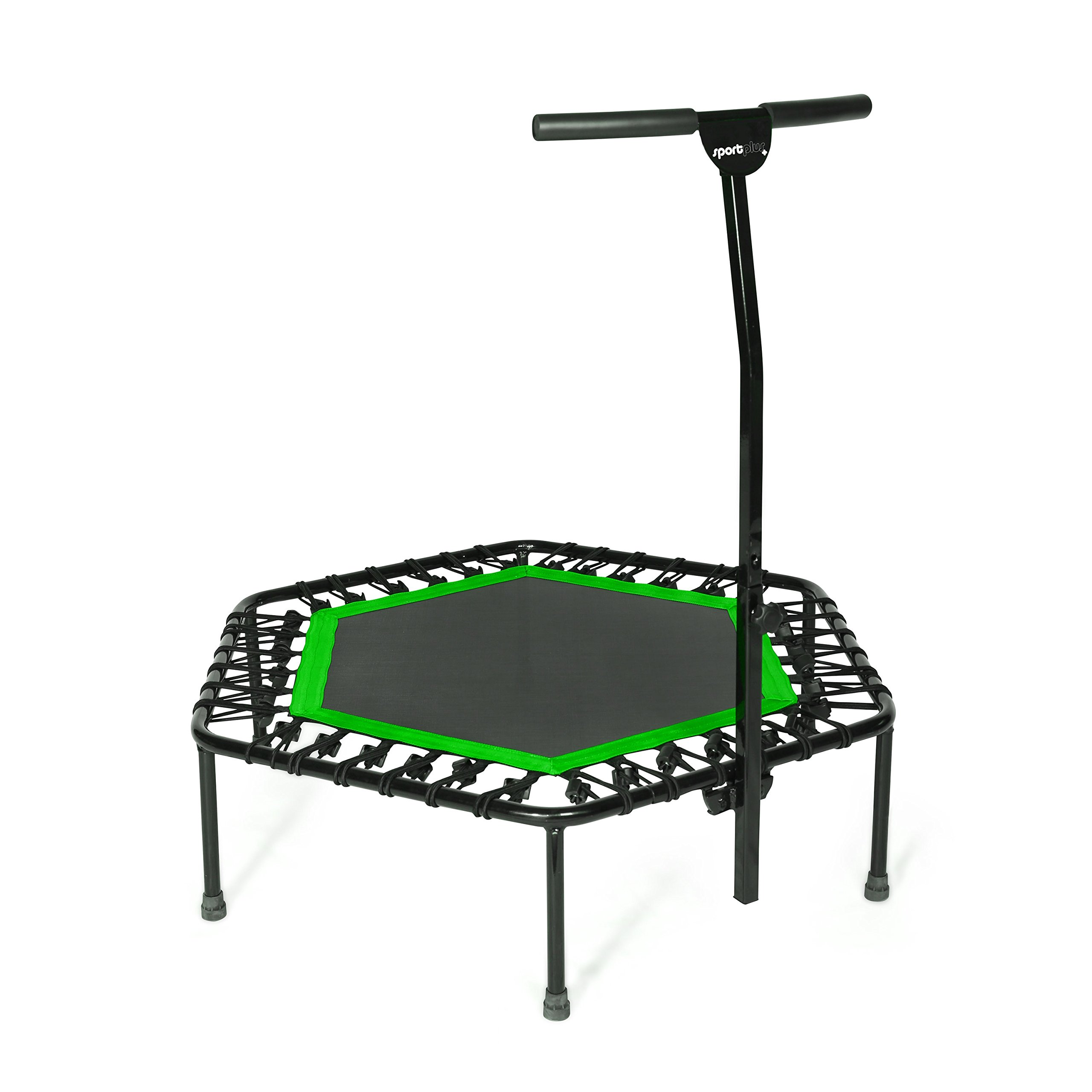 SportPlus Fitness Trampoline with Bar / OR Replacement Bungees - Indoor Rebounder Trampoline for Adults - Ideal for Cardio Workout, Training at Home, Bungee Rope System Trainer, Silent - Max 286
