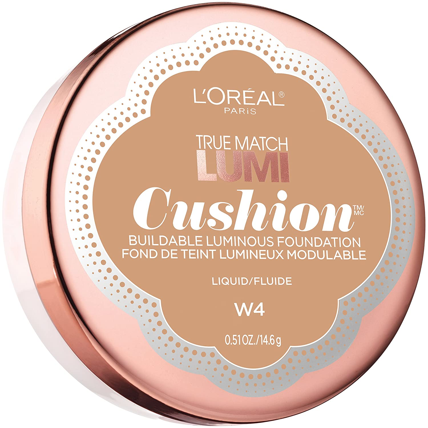 L'Oréal Paris True Match Lumi Cushion Foundation, W4 Natural Beige, 0.51 oz.