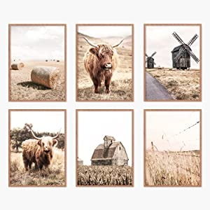 YUMKNOW Farmhouse Cow Wall Decor - Unframed Set of 6, 8x10, Modern Country Highland Cow Art for Bathroom, Bedroom Cottage Rustic Pictures Vintage Posters for Living Room Neutral Cow Decor Stuff Gifts