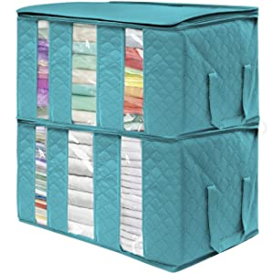 Sorbus Foldable Storage Bag Organizers, 3 Sections, Great for Clothes, Blankets, Closets, Bedrooms, and More, 2-Pack (Aqua)