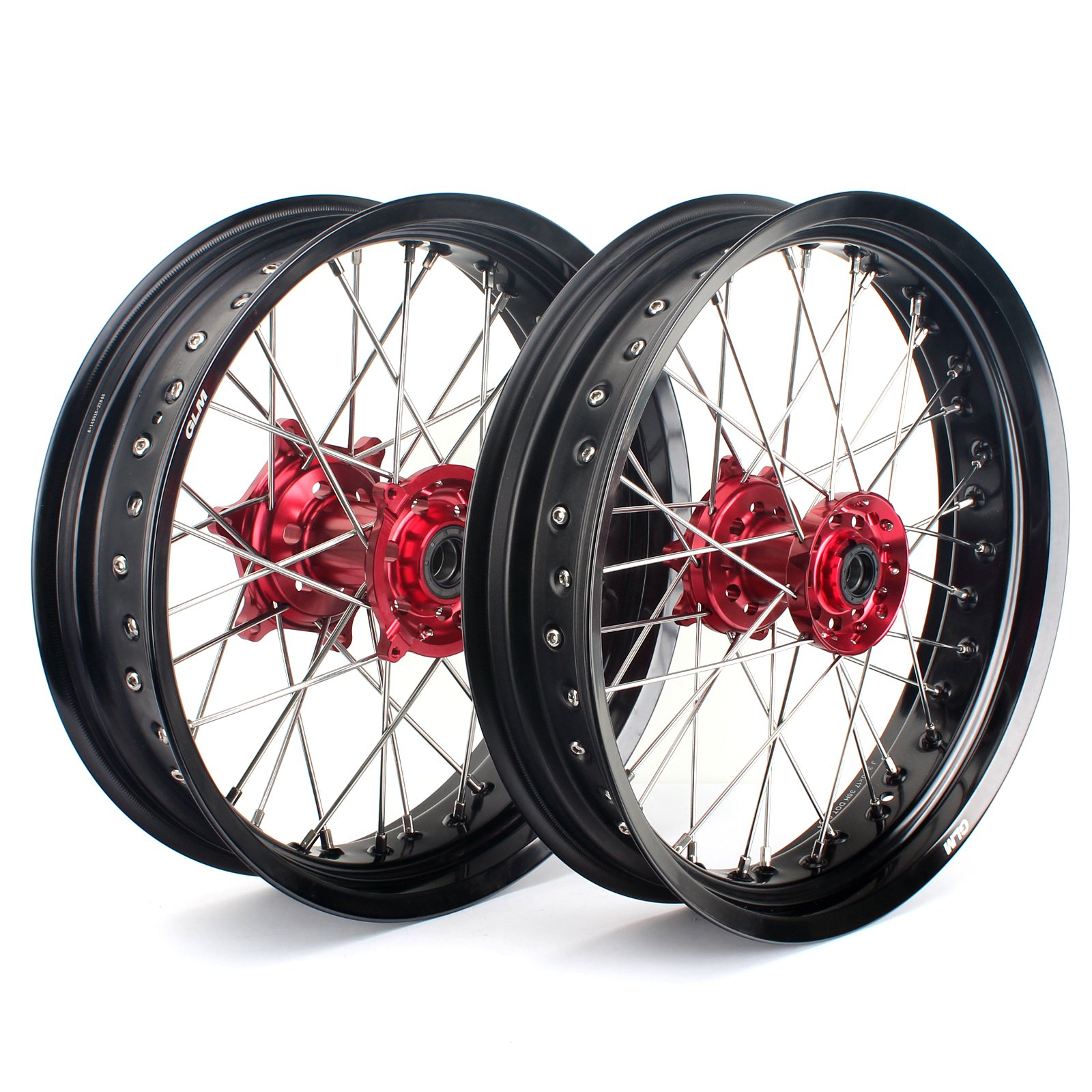 TARAZON 17'' & 17'' Supermoto Complete Wheel Set Red Hubs Black Rims for Honda CRF250R 04-13 CRF450R 02-12 CRF250X 04-16 CRF450X 04-16 CR125R CR250R 02-13 Front and Rear wheels