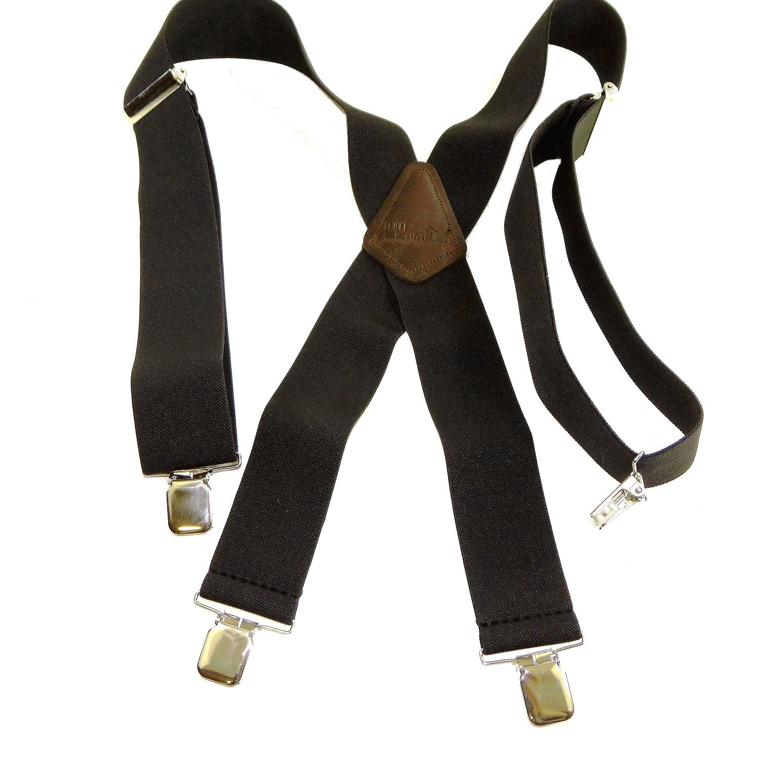 Holdup Brand 2'' Wide XL Graphite Black Work Suspenders with Patented Silver Tone Jumbo No-slip Clips