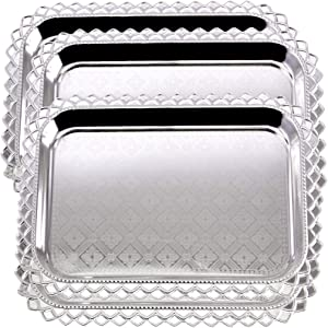 Maro Megastore (Pack of 4) 16.5 Inch x 11.8 Inch Oblong Chrome Plated Mirror Serving Tray Stylish Design Floral Engraved Edge Decorative Party Birthday Wedding Dessert Buffet Wine Platter Plate CC-900