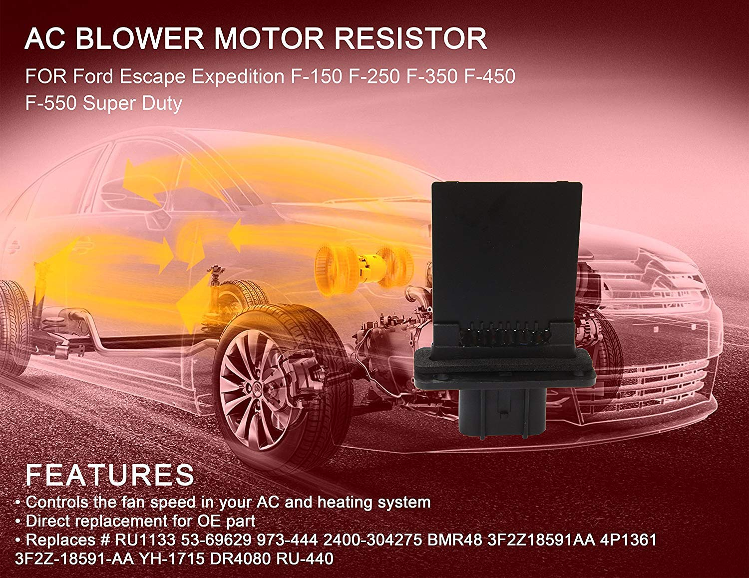 GOHAWKTEQ Replaces # 3F2Z18591AA YH-1715 HVAC Blower Motor Resistor G005R for Ford Escape Expedition F150 F250 F350 F450 F550 Super Duty