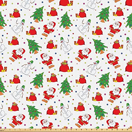 Amazon.com Ambesonne Christmas Fabric by The Yard, Xmas