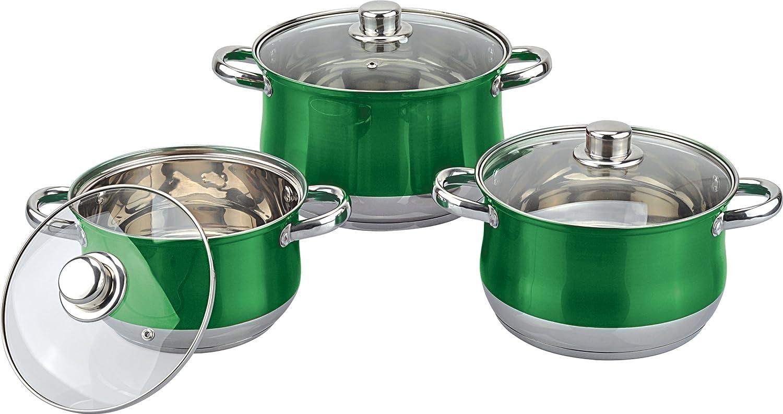 Royal Cuisine 3 Piece Set Coloured Stainless Steel Stock Pot Set. (Black) Y7860071