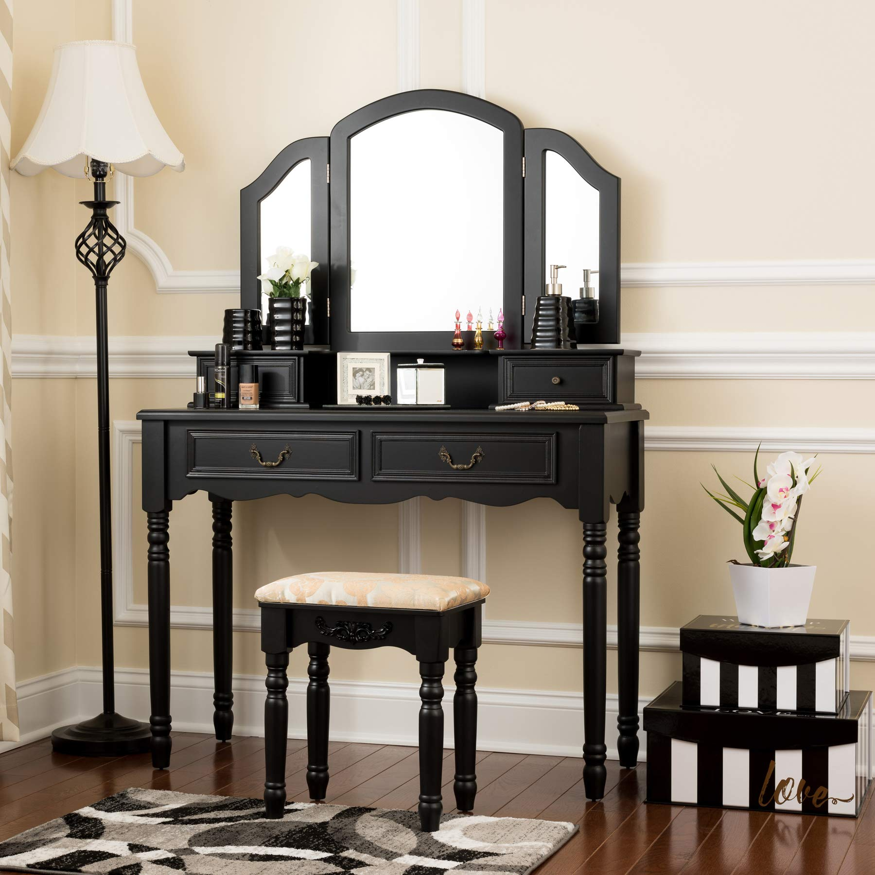 Fineboard FB-VT06-BKV Elegant Vanity Set Makeup Dressing Table with 3 Mirrors and Stool, 4 Drawers, Black