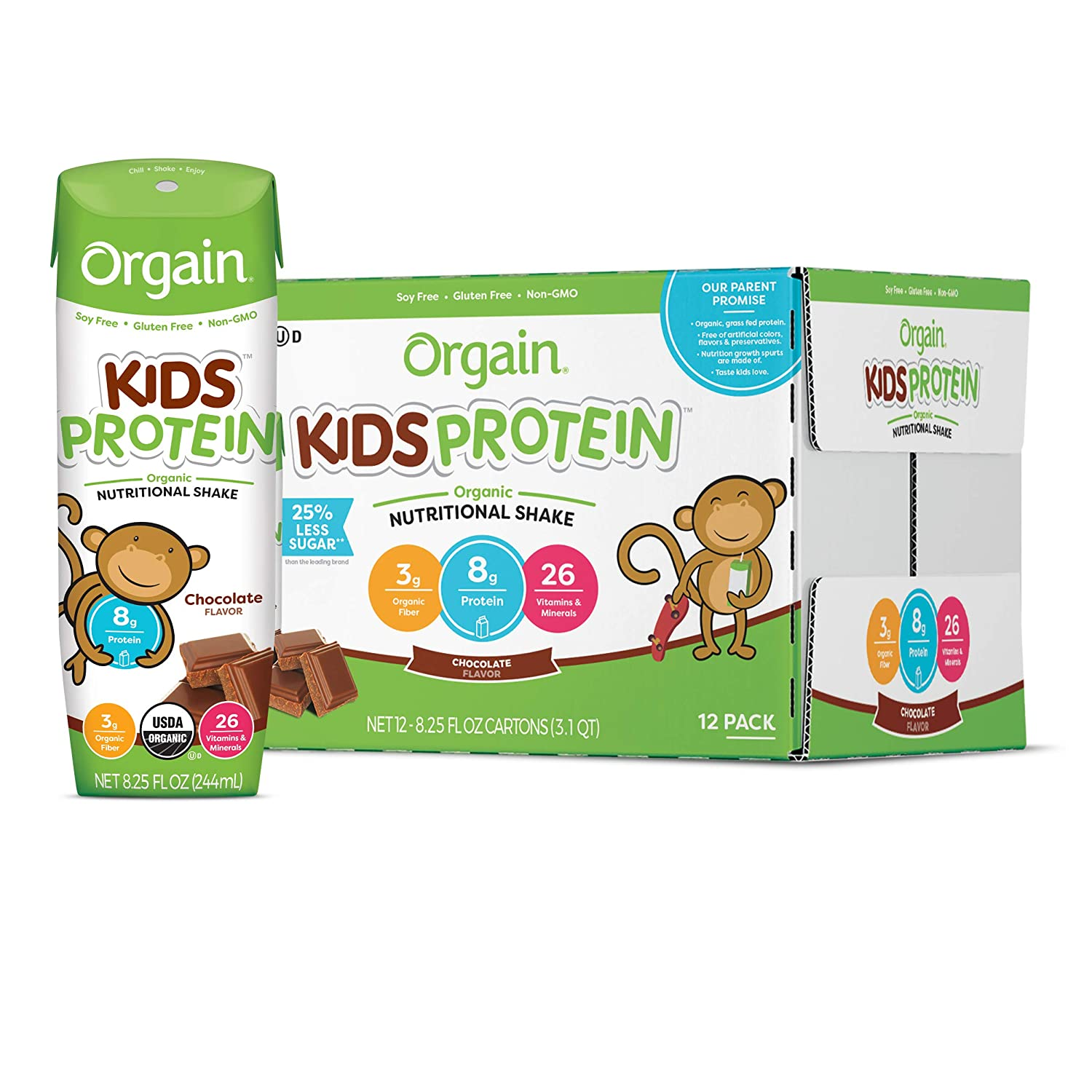 Orgain Organic Kids Protein Nutritional Shake, Chocolate - Great for Breakfast & Snacks, 26 Vitamins & Minerals, 10 Fruits & Vegetables, Gluten Free, 8.25 Ounce, 12 Count (Packaging May Vary) : Meal Replacement Drinks : Grocery & Gourmet Food