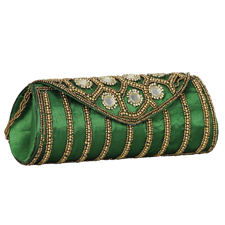 Women Sizzling Jaipuriya Style Hand-Cum-Wedding Clutch - Green