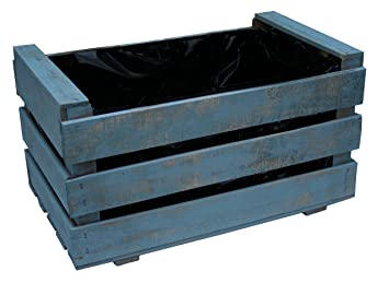 Caja de fruta antigua, jardinera de madera 50x30x27 cm VINTAGEBOX, pintada azul grisáceo: Amazon.es: Jardín
