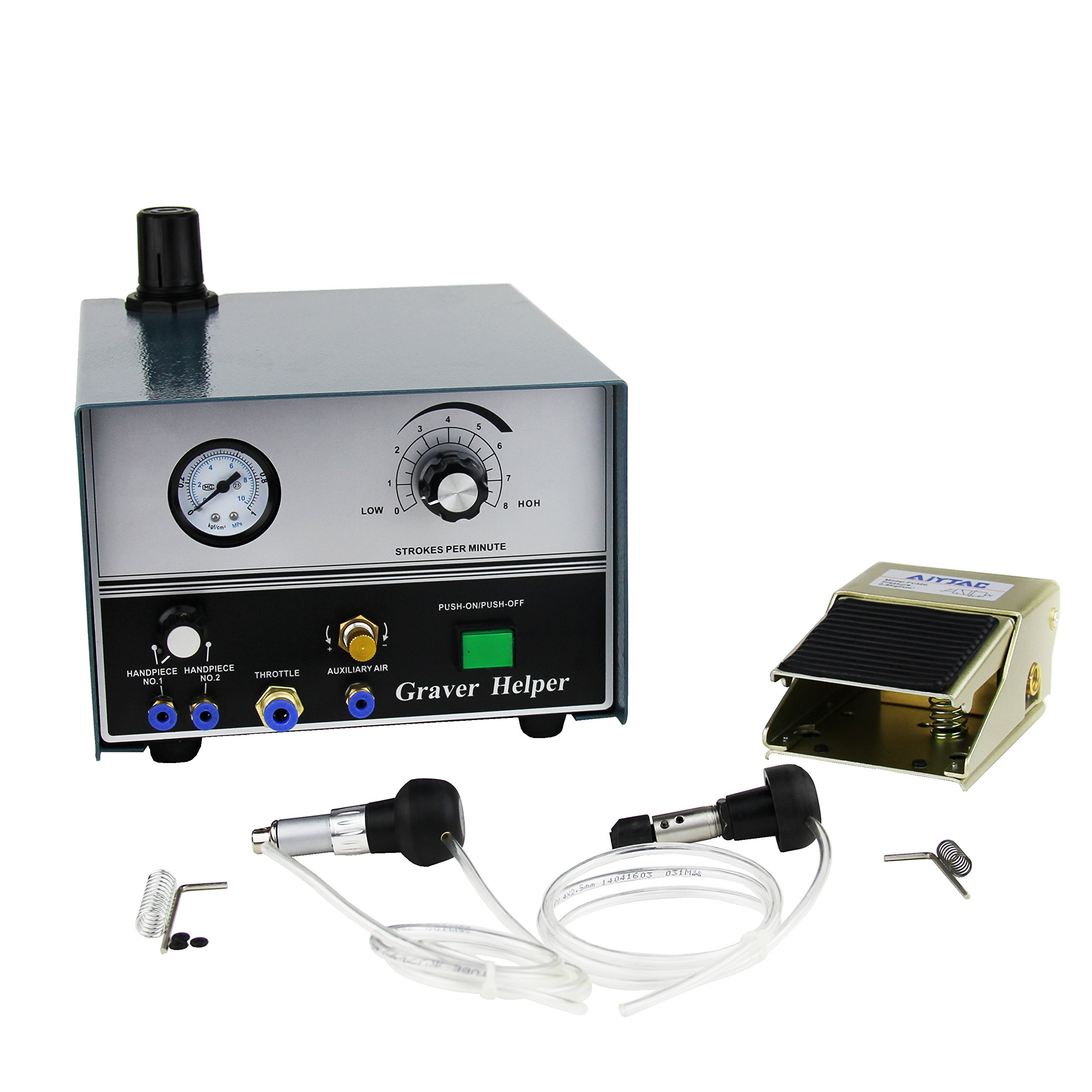 Pneumatic Engraving Machine Jewelry Engraver Double Ended 2 Hand Pieces US Shipping