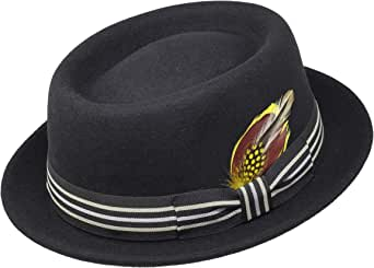 Borges & Scott Premium Defoe - Porkpie Hat with Removable Feather - 100% Wool Felt - Water Resistant - Crushable for Travel